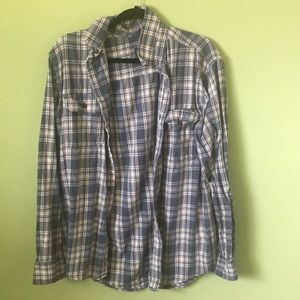 Faded glory Blue and white flannel NWOT